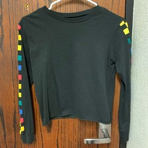 Black long sleeve with rainbow checkered sleeves